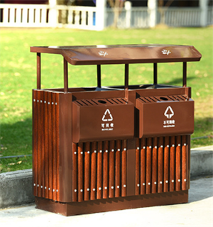 河北户外钢木垃圾箱